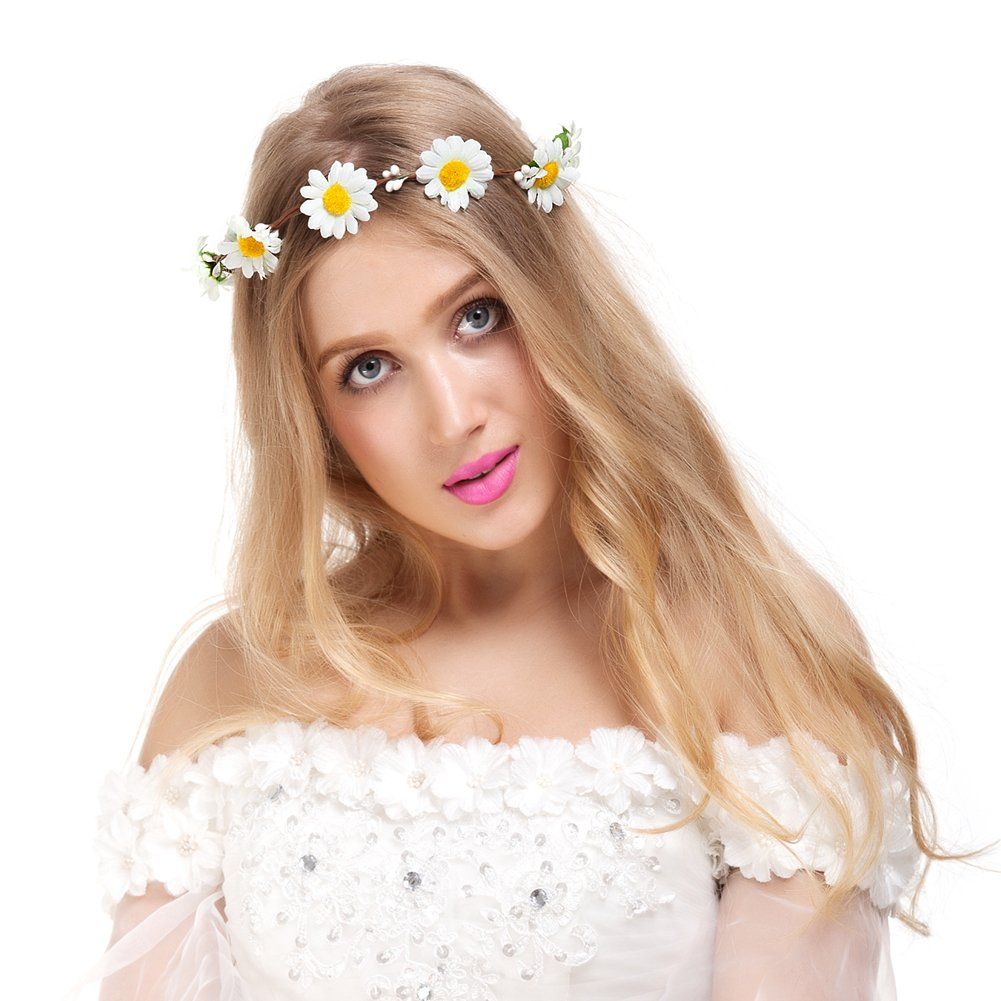 Buy valdler exquisite simple little daisy flower wreath headband buy valdler exquisite simple little daisy flower wreath headband floral crown garland halo with adjustable ribbon for wedding festivals online at low prices izmirmasajfo