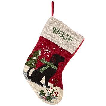 Dog Christmas Stocking.Glitzhome 19 Handmade Hooked Dog Christmas Stocking