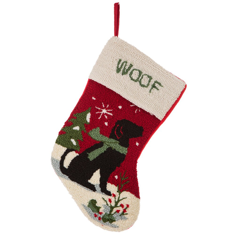 Glitzhome 19'' Handmade Hooked Dog Christmas Stocking