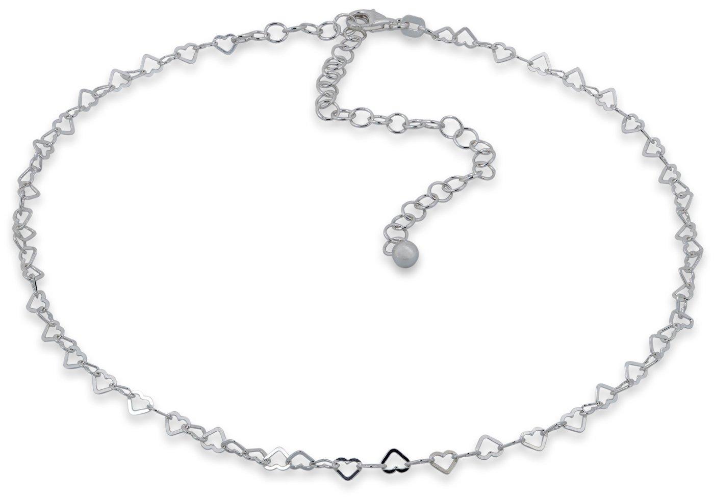 SilverLuxe Sterling Silver Heart Link Choker Necklace 12 + 4'' Size
