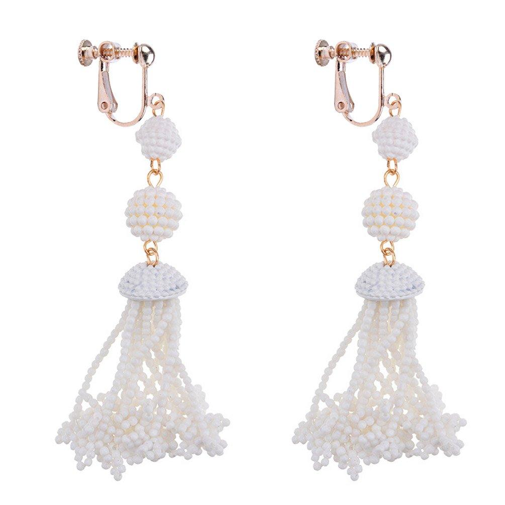 Dangle Earring Clip on Screw Back Little Beads Long Tassel Statement for Women Fashion Jewelry White