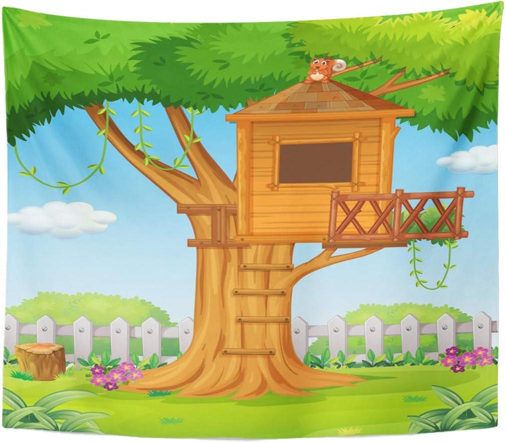Amazon Com Emvency Tapestry Cartoon Green House Treehouse In The