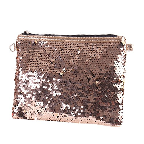 Cosmetic Women Clutch Silver Large Pouch Makeup Ran Pu Sequin Handbag Capacity Bling Champagne Black Strap Bag 0IwpqO5