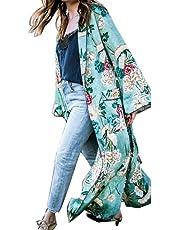 Ausexy Autumn FEITONG Fashion Women's Bohemia Floral Tassel Long Kimono Oversize Shawl Cover Up Blouse Tops Coat Jacket
