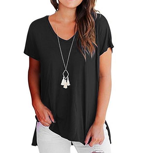 c8ead62aa27acb Alonea Women's Blouses, Women's Short Sleeve T Shirt Basic Tee Tops Plain  Casual Tees Shirt