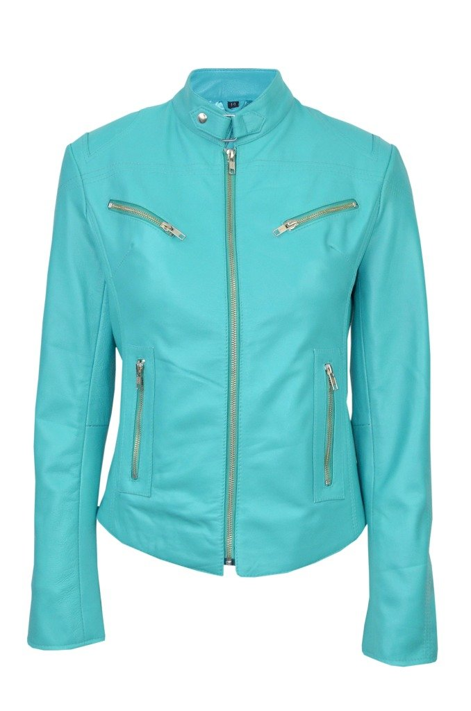 Smart Range Women's Speed Washed Cool Retro Biker Style Fitted Motorcycle Designer Leather Jacket 12 Turquoise