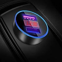 YGKJ Auto Ladegerät, Quick Charge 3.0+2.4A 30W Zigarettenanzünder USB Ladegerät 12V/ 24V KFZ Ladegerät 2-Port mit LED Digital Voltmeter für iPhone XR/Xs Max, Samsung Galaxy S8, Huawei Und mehr