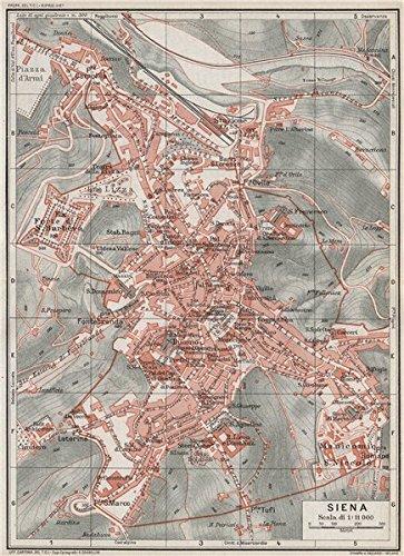 Amazon siena vintage town city map plan italy 1924 old vintage town city map plan italy 1924 old map antique gumiabroncs Choice Image