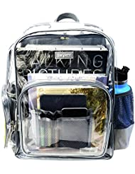 Heavy Duty Clear Backpack Durable Military Nylon - Transparent for School, Security, Stadiums