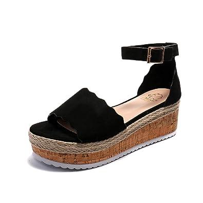 21417452acf8 Alexis Leroy Women s Buckle Straps Comfortable Sole Platform Wedge Sandals  Black 6-6.5 ...