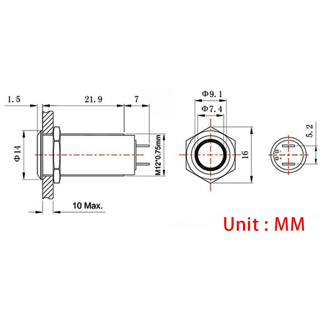 12mm,Azul Luz Larcele 5 piezas Impermeable No Moment/áneo Interruptor Mini Pestillo Interruptores Metal con Luz Indicadora JSANKG-02