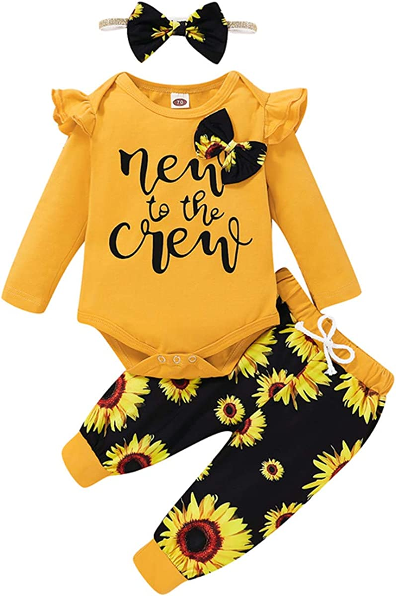 Baby Girl Clothes Set New to The Crew Long Sleeve Romper + Striped Pants+Hat+ Headband 4pcs Infant Outfits for Girl