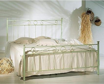 Cama de matrimonio de hierro color verde decape con pie ...