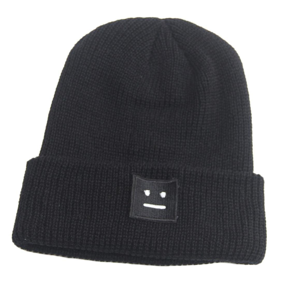 2b14f56de4b Voberry Smiling Face Cap Knitting Beanie Cap Warm Winter Three-Dimensional  Hat (Black) at Amazon Women s Clothing store
