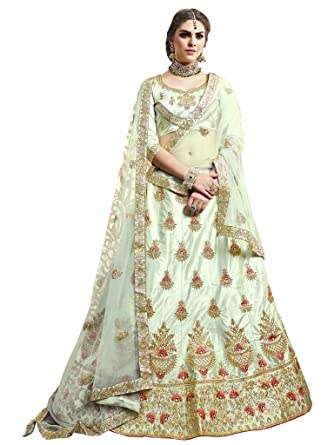 AD ENTERPRISE Women s Silk Unstitched Lehenga Choli (Off-White)  Amazon.in   Clothing   Accessories ef70fcd927
