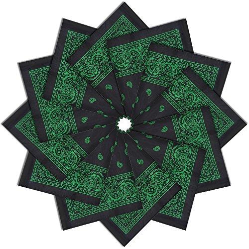 Alotpower 12 Pack Bandanas Sweat Headbands Handbands Napkin Handkerchiefs for Daily Use,Black&Green Double Sided Activity Table