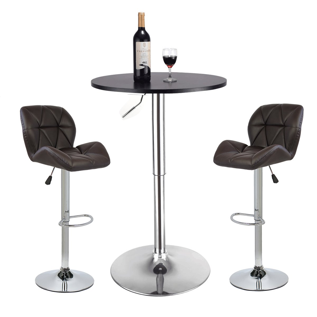Pub Table Set 3 Piece - 24 inch Round Table with 2 Leatherette Chairs - Height Adjustable (Brown Barstools + Black Pub Table)
