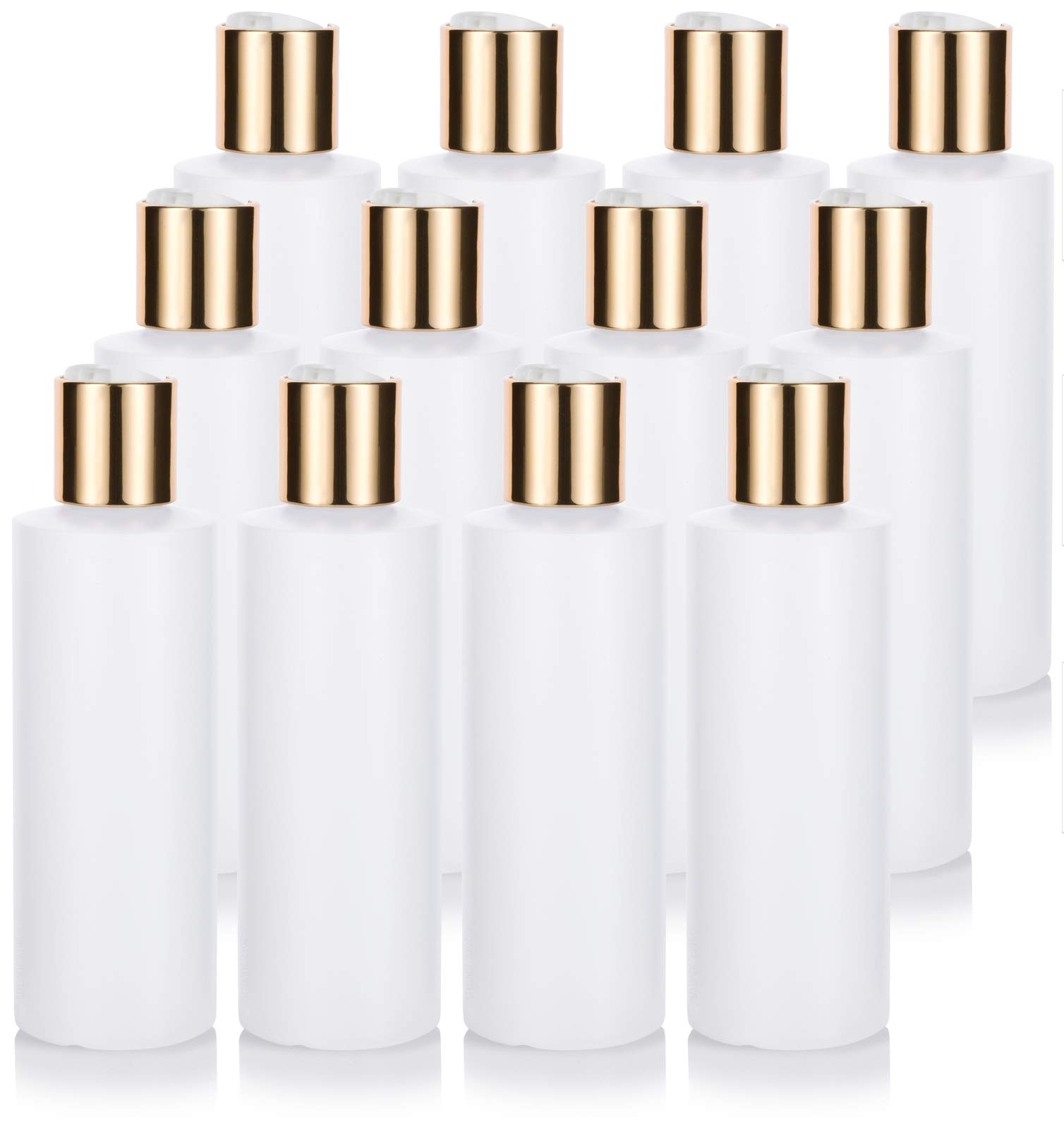 6 oz Clear Natural Refillable Plastic Squeeze Bottle with Gold Metal Disc Cap - (12 Pack)