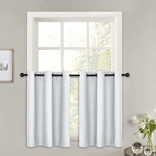 PONY DANCE Short White Curtains – 42 x 36 inches, Greyish White, 2 PCs Grommet Top Blackout Curtain Valances for Half Small Windows Decoration Light Filter Panels