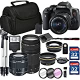 Canon EOS Rebel T6i Digital SLR Camera + 18-55mm STM + Canon 75-300mm III Lens + SD Card Reader + 64GB Memory + Remote + Accessory Bundle - International Version