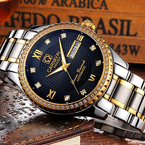 Swiss Made Men Luxury Gold Watches,Automatic Analog Display Calendar Week Luminous Gold Stainless Diamond Watches