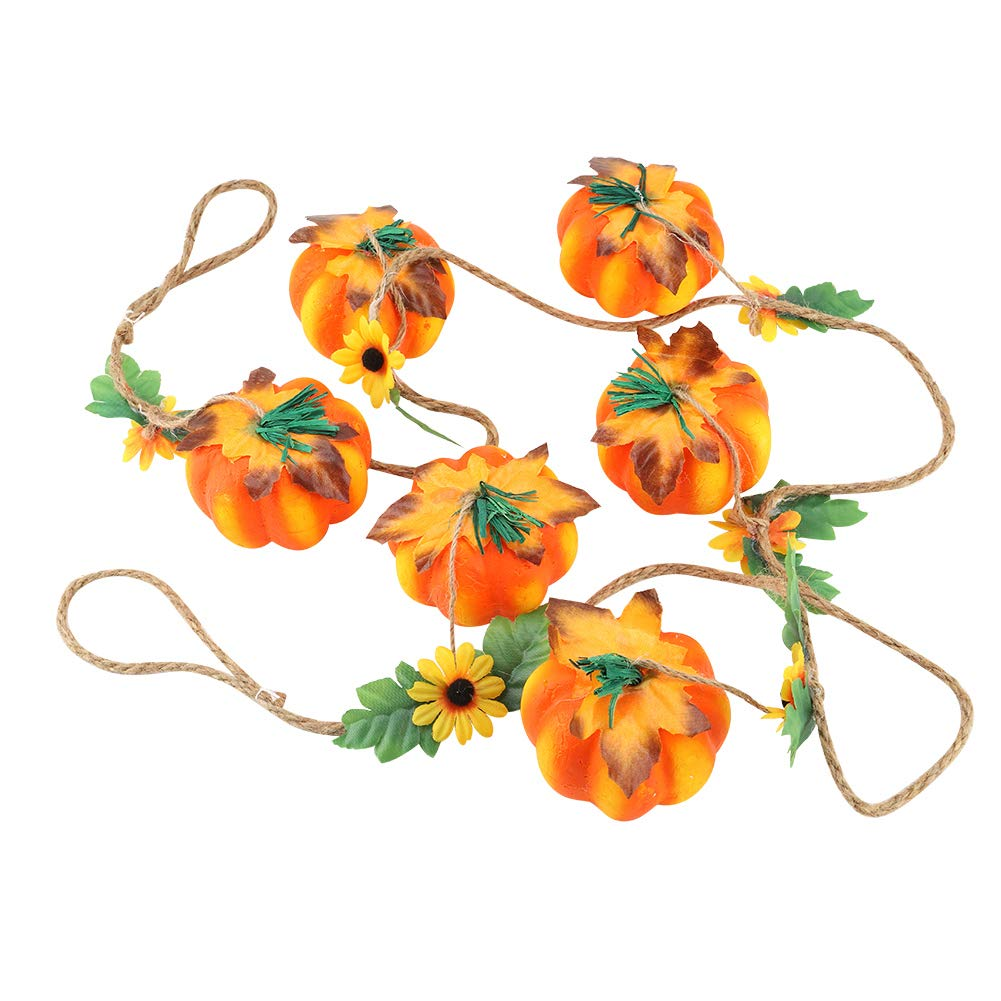 (Pack of 2) Pumpkin Bunting Banner Flags String Garland Hanging Decoration Supplies for Halloween Party Harvest Ornaments Festival Garosa