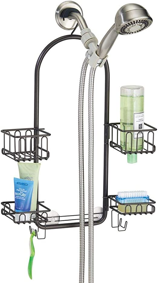 mDesign Estantería de ducha para colgar – Prácticos estantes de ducha sin taladro de metal resistente – 4 cestas de ducha para colgar y 2 ganchos para accesorios de ducha – bronce: Amazon.es: Hogar