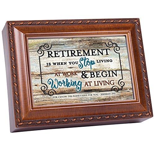 (Retirement Stop Working Living Woodgrain Keepsake Music Box Plays Amazing Grace)
