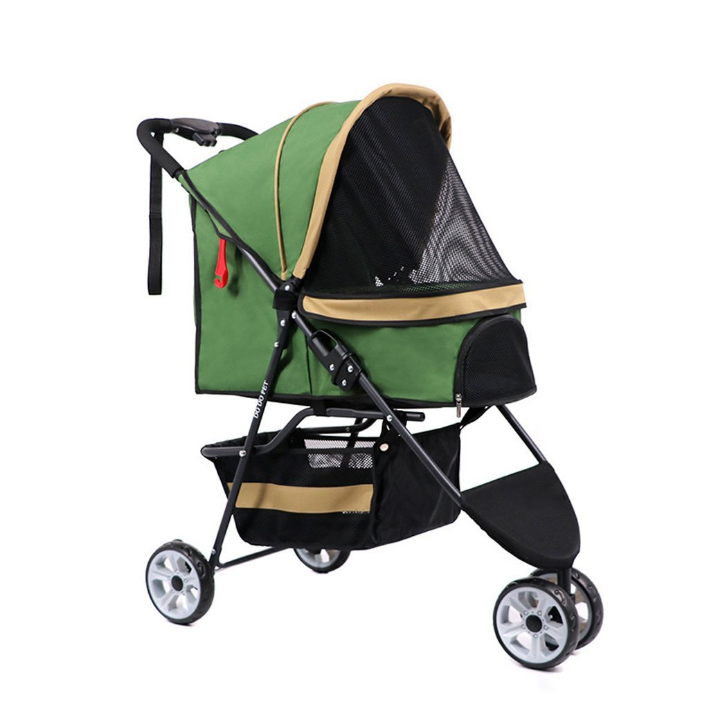 GREEN Pet Stroller High End Three Wheeled Cart Cat Dog Fast Car Waterproof Detachable for Travel Out (color   Green)