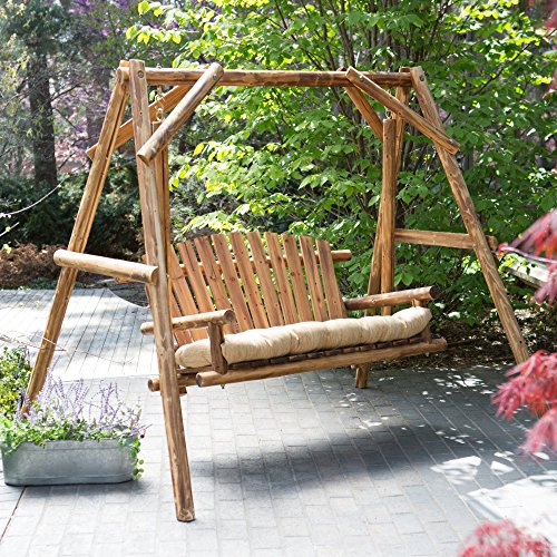 (Coral Coast Rustic Oak Log Curved Back Porch Swing and A-Frame Set)