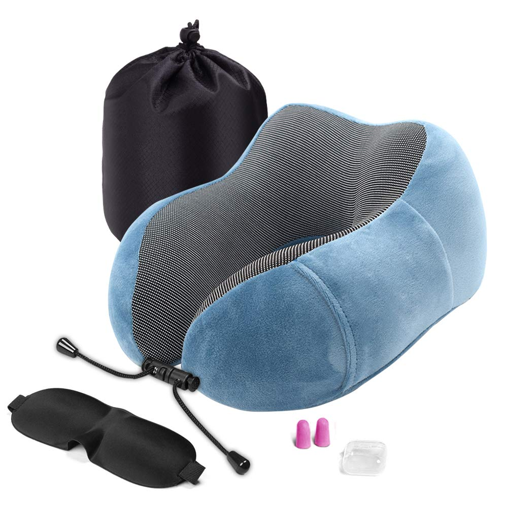HZQDLN ネックピロー トラベルキット スリープマスク、耳栓、ラグジュアリーバッグ付き 永遠の快適さ 100%ピュアメモリーフォーム 洗濯可能 飛行機や車や家庭用の睡眠用クッション ブルー B07Q65BPMK ブルー