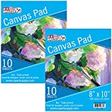 U.S. Art Supply 8'' x 10'' 10-Sheet 8-Ounce Triple Primed Acid-Free Canvas Paper Pad (Pack of 2 Pads)