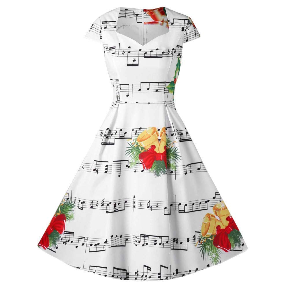 Womens Dress,Fashion Women Merry Christmas Bell Music Note Print V-Neck Evening Party Dress (White, L) ANMIEN