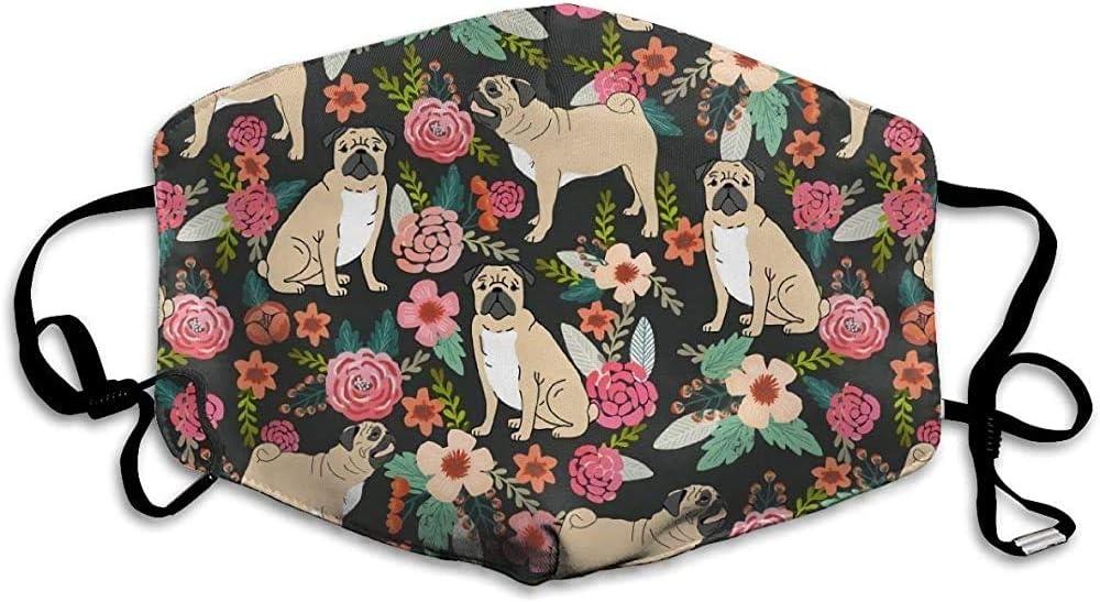 Prueba de máscara Transpirable-Pug Flowers Florals Pugs Pet Pet Dog Dogs Cute Pugs Flowers-Unisex Mask Indoor Outdoor Cycling Camping Travel Windproof Wind Mask