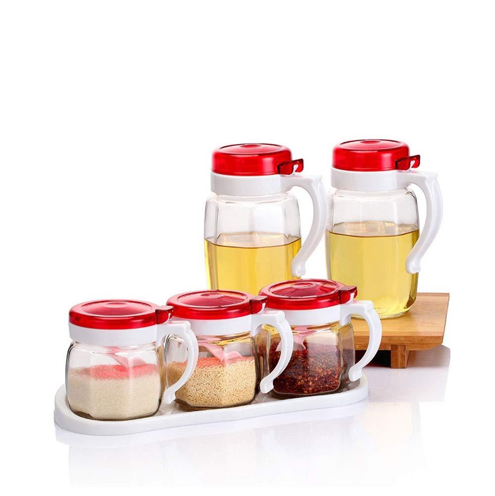 KIYYI Glass Oil Pot Transparent Glass Anti-Corrosion Seasoning Box Dust-Proof Oil Pot Soy Sauce Vinegar Bottle Seasoning Box Soy Sauce Bottle Set Spice Jar Gift Box Set of Five (Color : Red) by KIYYI