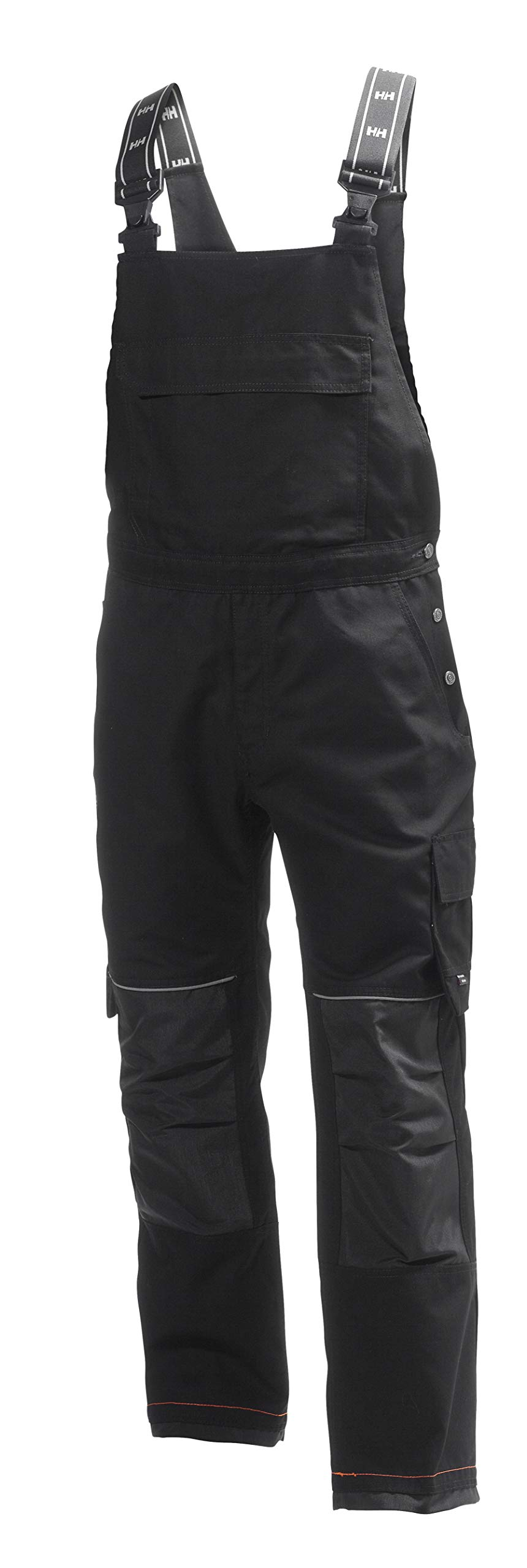 Helly Hansen Work Wear Men's Chelsea Construction Work Bib Pants, Black/Charcoal, 50Wx32L