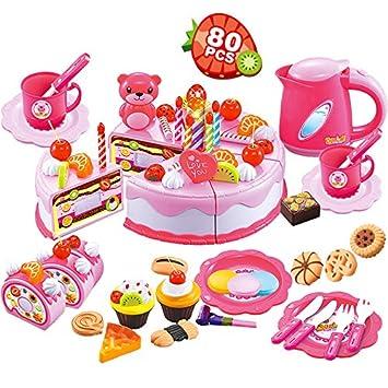 Amazon.com: 80 piezas tarta de cumpleaños pretender jugar ...