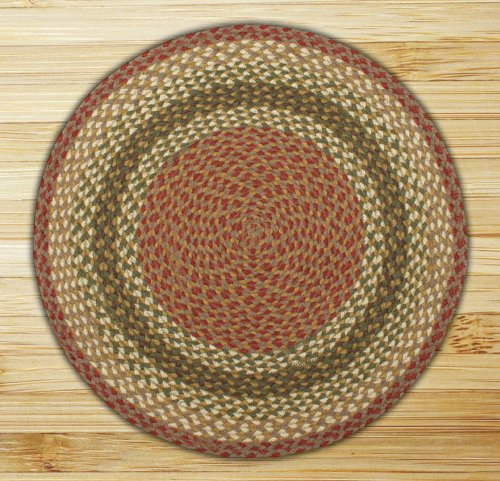 Earth Rugs Round Area Rug, 4', - Gray Olive Burgundy Jute