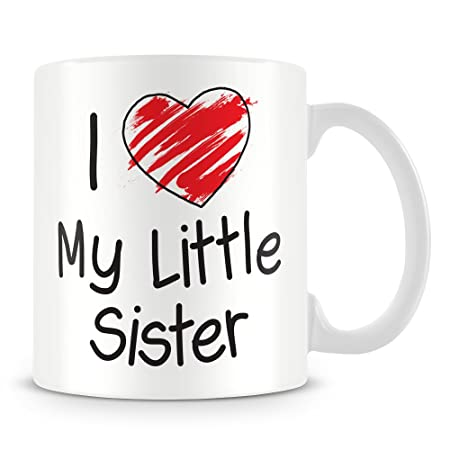 I Love My Little Sister Personalised Mug Add Any Name Message