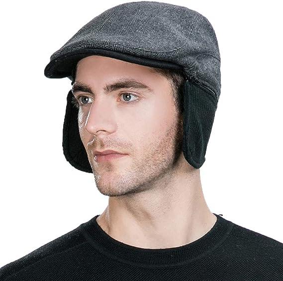Softmusic Outdoor Traval Hats,Men Women Winter Warm Plaid Woolen Peaked Hat Newsboy Ski Beret Cap
