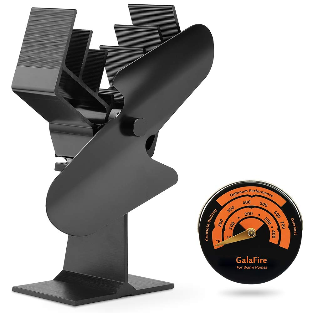 Amazon.com: GALAFIRE [ 2 Years Warranty ] Large Airflow Wood Stove Fan Heat Powered Fireplace Fan Blower Heat Driven + Stove Thermometer Magnetic Must Have ...