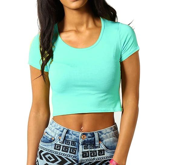 ce9145b9fcf58c Women's Short Cap Sleeves Scoop Neck Crop Top Stretch Mini Shirt Dance One  Size Aqua at Amazon Women's Clothing store: