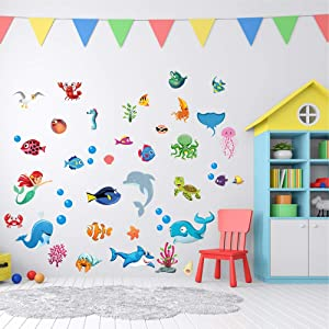 JesPlay Ocean & Sea Adhesive Wall Decals Wall Décor Stickers for Kids & Toddlers Include Fish, Shark, Dolphin, Octopus & More - Removable Wall Decor for Bedroom, Living Room, Nursery, Classroom