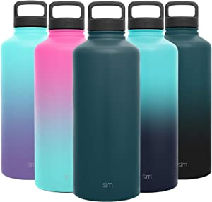 Simple Modern 84 Ounce Summit Water Bottle - Large Stainless Steel Half Gallon Flask +2 Lids - Wide Mouth Double Wall Vacuum Insulated Green Leakproof -Riptide