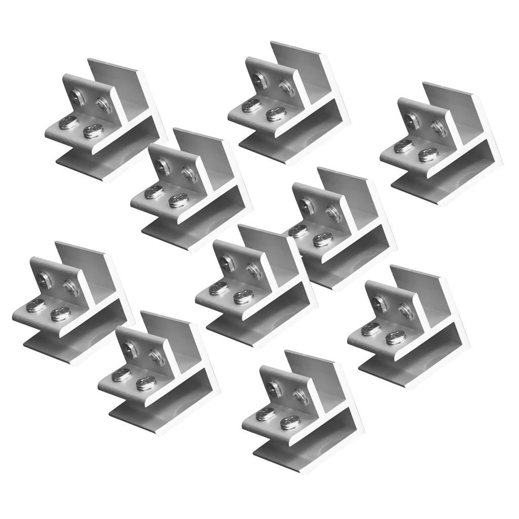 Homyl 10pcs Aluminiumlegierung Glashalter Klemmhalter Glasklemme Gelä nder eckig
