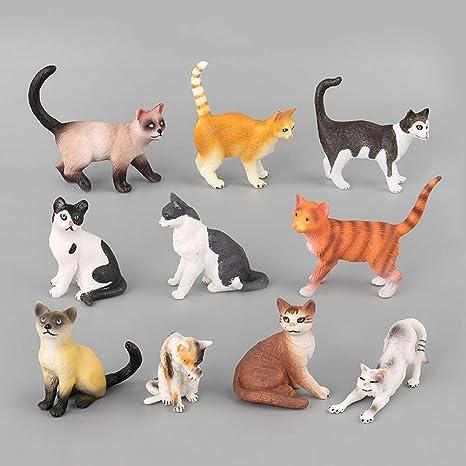 YeahiBaby Juguetes de estatuillas de Gato | Miniaturas de Animales de plástico realistas, Paquete de