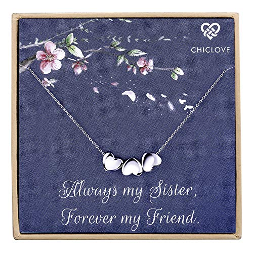 Tiny Heart Necklace, Three Sister Gift, Gift