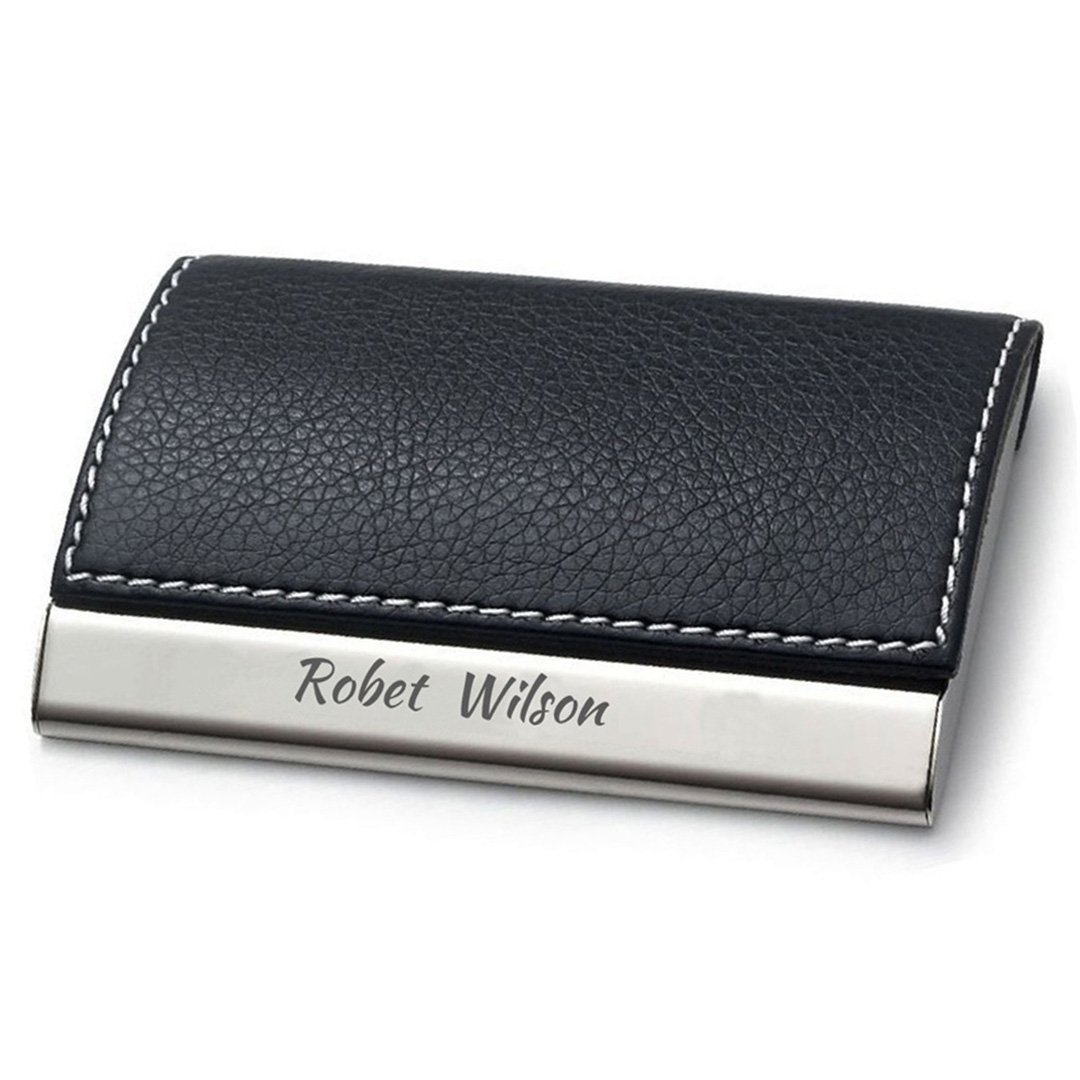 Personalized Black Leather Magnetic Business Card Holder ...