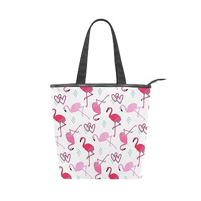 e2d8ca1ba742 Amazon.com: Womens Canvas Tote Bags Pink Flamingo Love Heart Tote Handbags  for Shopping School Travel Gym Work: Shoes