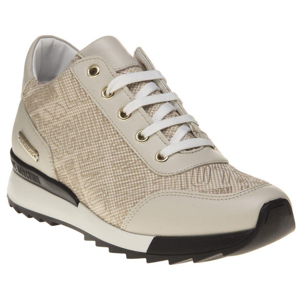 Love Moschino Logo Print Runner Womens Sneakers Natural
